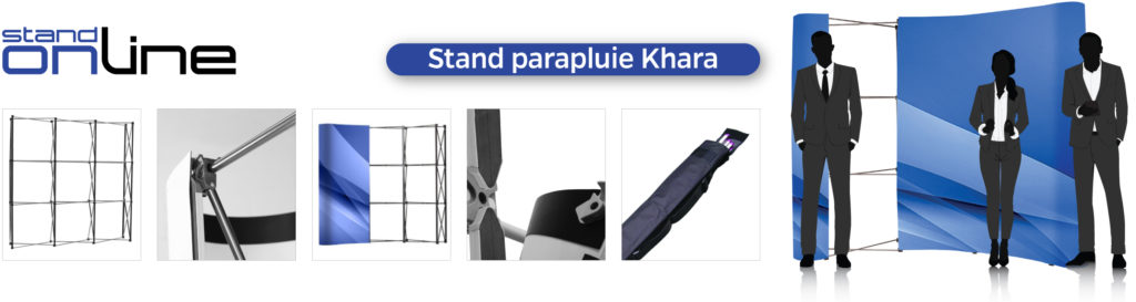 Stand parapluie PopUp 3x3 4x3 Photocall Mur d'image Kakemono Roll-up Totem Banner Affiche Stickers