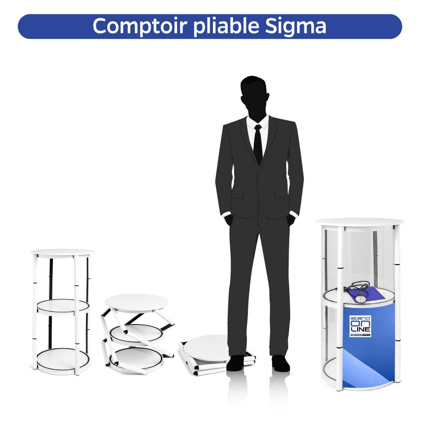Comptoir, Banque accueil, Vitrine pliable, Tour pirouette, Stand pliable, Impression numerique, Standonline