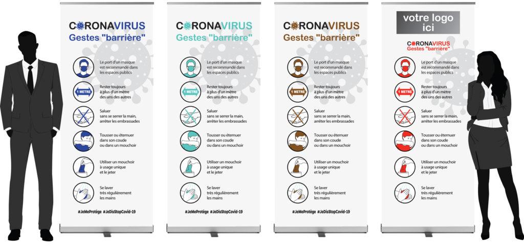 Covid-19 Kit Sécurité Marquage au sol Stickers Consignes sanitaires Gestes barrières